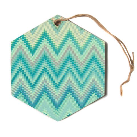 "Nika Martinez ""SEVENTIES EMERALD CHEVRON""  Hexagon Holiday Ornament"