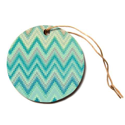 "Nika Martinez ""SEVENTIES EMERALD CHEVRON""  Circle Holiday Ornament"