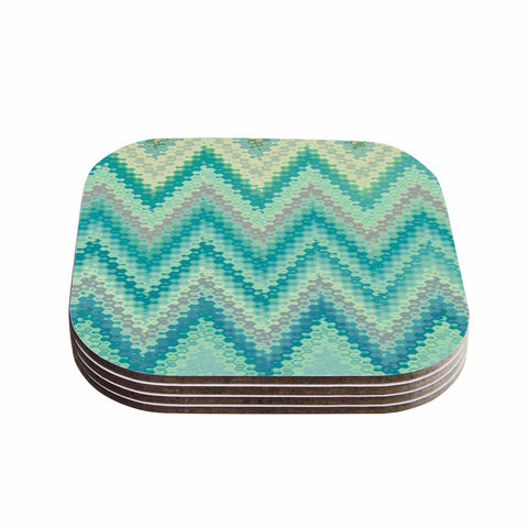 "Nika Martinez ""Seventies Emerald Chevron"" Green Abstract Coasters (Set of 4)"