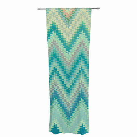 "Nika Martinez ""Seventies Emerald Chevron"" Green Abstract Decorative Sheer Curtain - KESS InHouse  - 1"