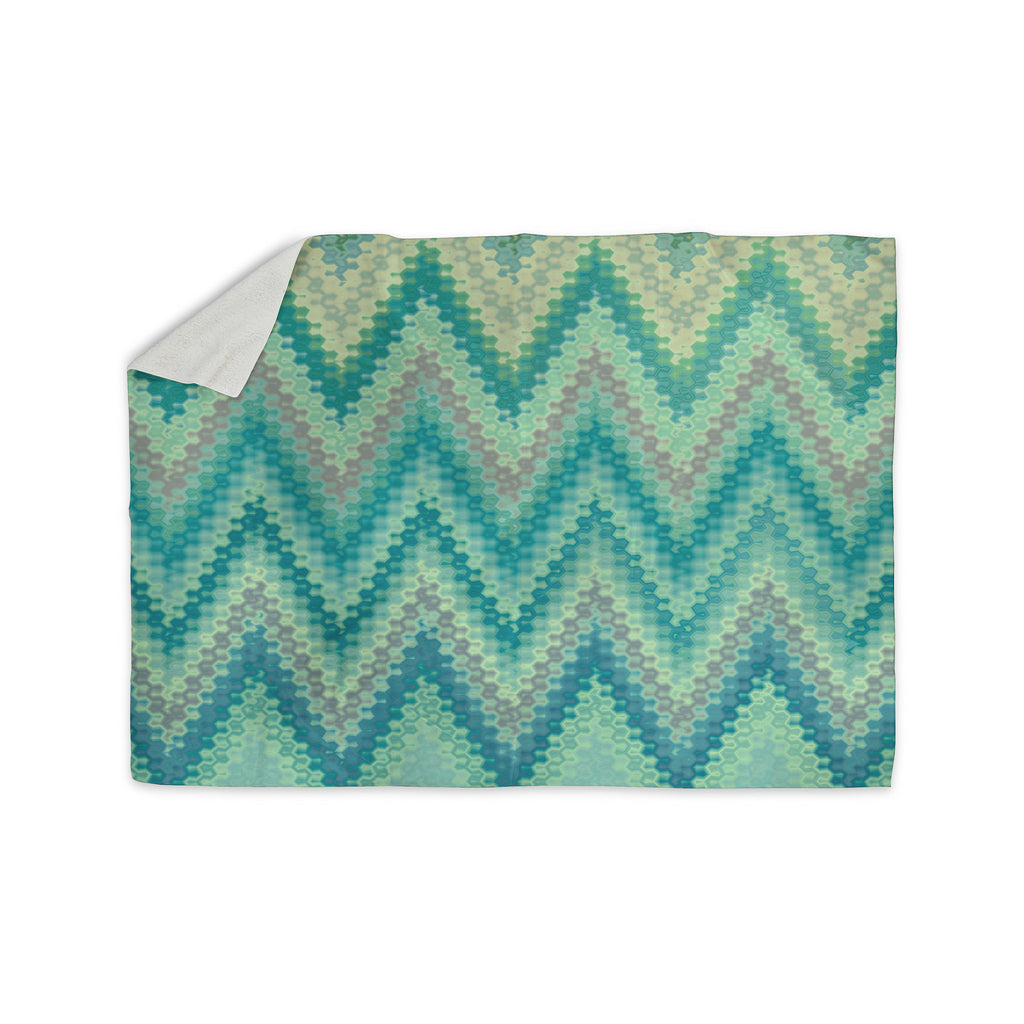 "Nika Martinez ""Seventies Emerald Chevron"" Green Abstract Sherpa Blanket - KESS InHouse  - 1"