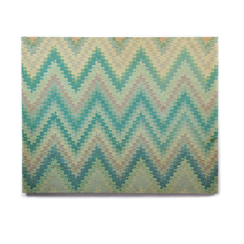 "Nika Martinez ""Seventies Emerald Chevron"" Green Abstract Birchwood Wall Art - KESS InHouse  - 1"