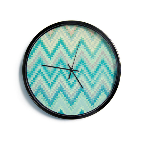 "Nika Martinez ""Seventies Emerald Chevron""  Modern Wall Clock"