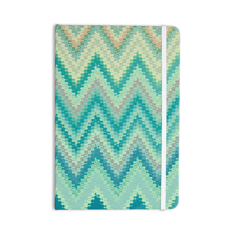 "Nika Martinez ""Seventies Emerald Chevron"" Green Abstract Everything Notebook - KESS InHouse  - 1"