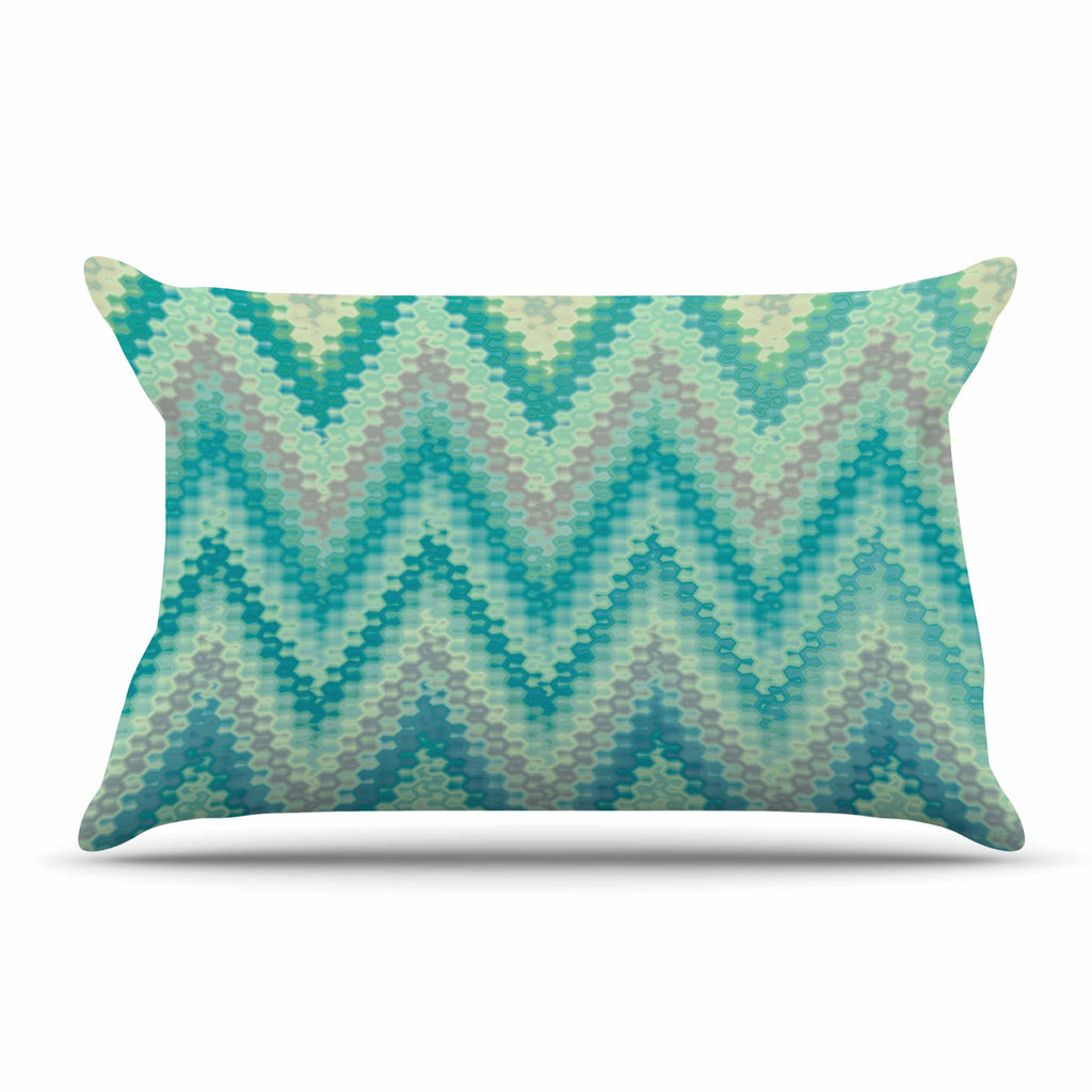 "Nika Martinez ""Seventies Emerald Chevron"" Green Abstract Pillow Sham - KESS InHouse  - 1"