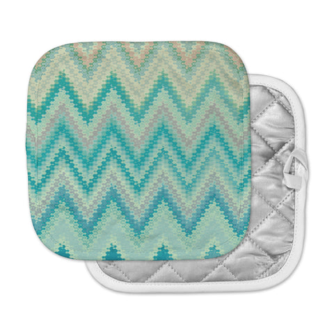 "Nika Martinez ""Seventies Emerald Chevron"" Green Abstract Pot Holder"