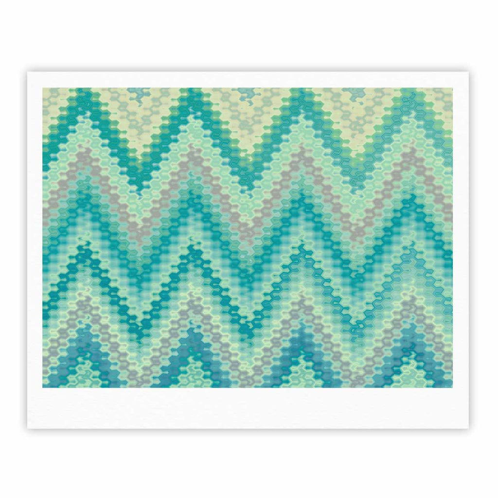 "Nika Martinez ""Seventies Emerald Chevron"" Green Abstract Fine Art Gallery Print - KESS InHouse"