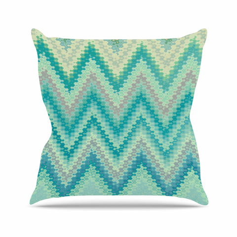 "Nika Martinez ""Seventies Emerald Chevron"" Green Abstract Outdoor Throw Pillow - KESS InHouse  - 1"