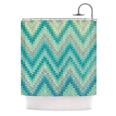 "Nika Martinez ""Seventies Emerald Chevron"" Green Abstract Shower Curtain - KESS InHouse"