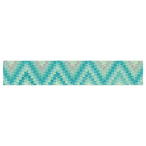 "Nika Martinez ""Seventies Emerald Chevron"" Green Abstract Table Runner - KESS InHouse  - 1"