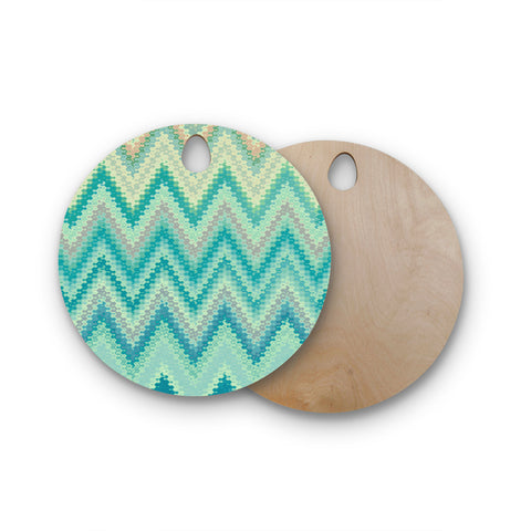 "Nika Martinez ""Seventies Emerald Chevron"" Round Wooden Cutting Board"
