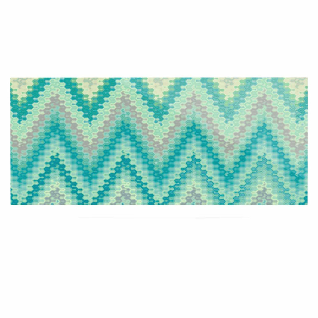"Nika Martinez ""Seventies Emerald Chevron"" Green Abstract Luxe Rectangle Panel - KESS InHouse  - 1"