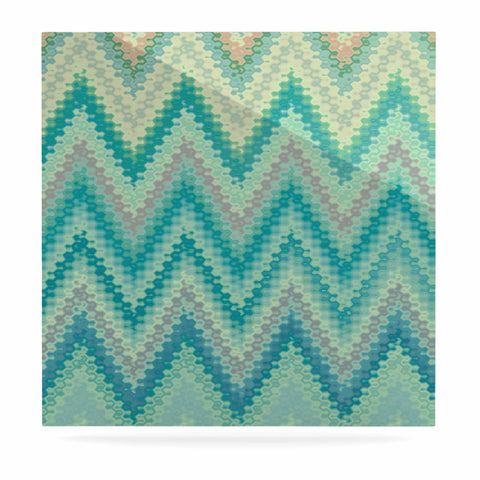 "Nika Martinez ""Seventies Emerald Chevron"" Green Abstract Luxe Square Panel - KESS InHouse  - 1"