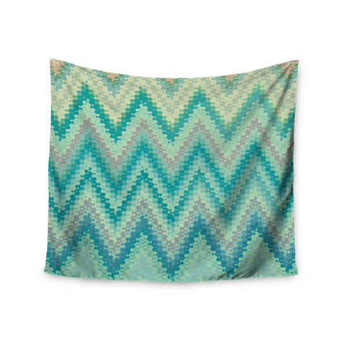 "Nika Martinez ""Seventies Emerald Chevron"" Green Abstract Wall Tapestry - KESS InHouse  - 1"