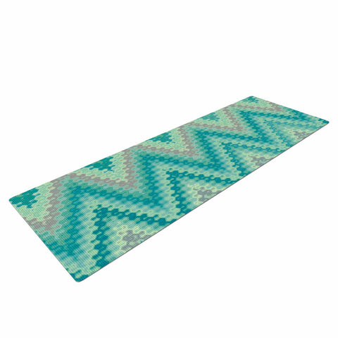 "Nika Martinez ""Seventies Emerald Chevron"" Green Abstract Yoga Mat - KESS InHouse  - 1"