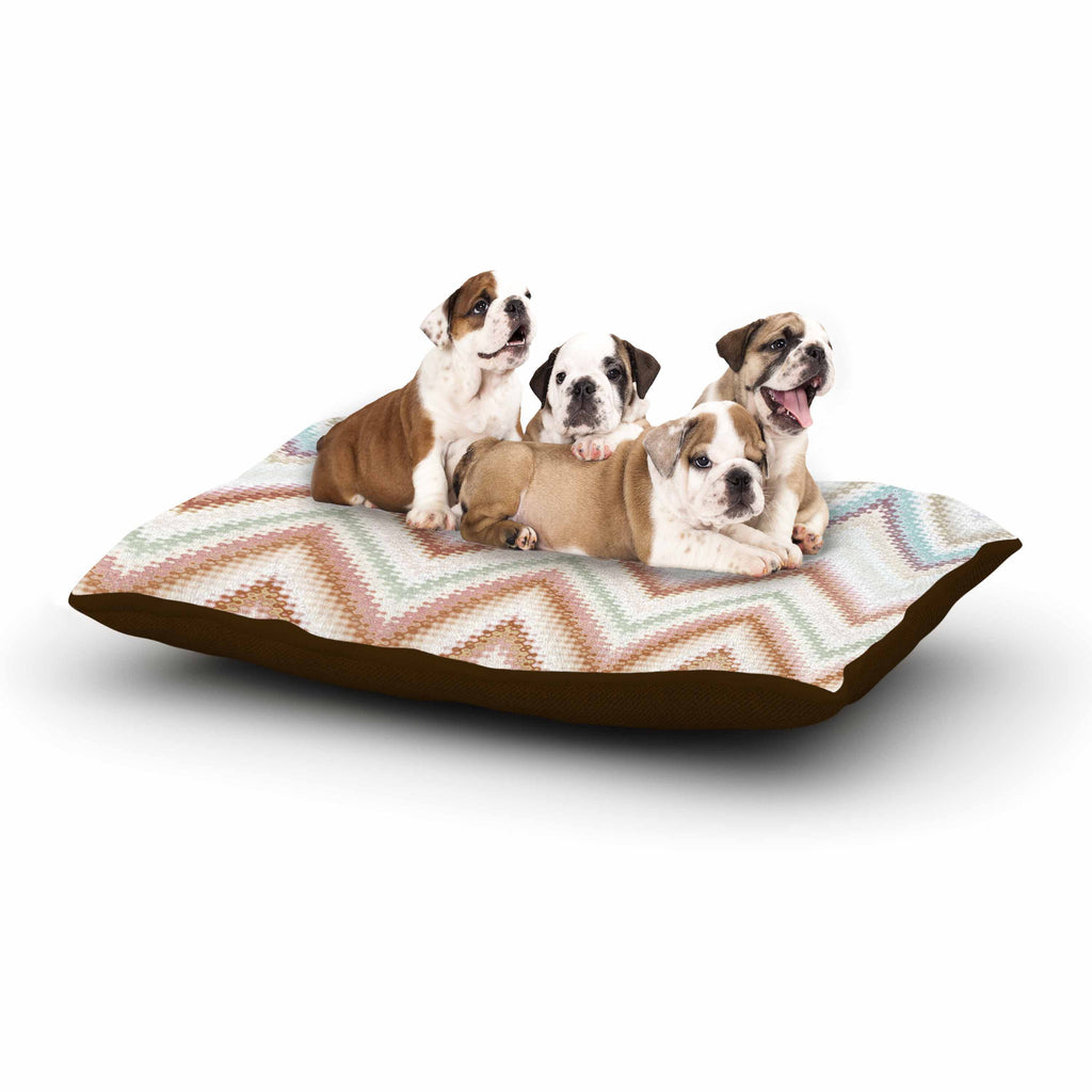 "Nika Martinez ""Seventies Chevron"" Beige Pattern Dog Bed - KESS InHouse  - 1"