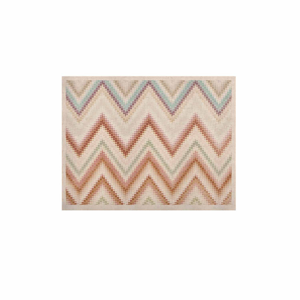 "Nika Martinez ""Seventies Chevron"" Beige Pattern KESS Naturals Canvas (Frame not Included) - KESS InHouse  - 1"
