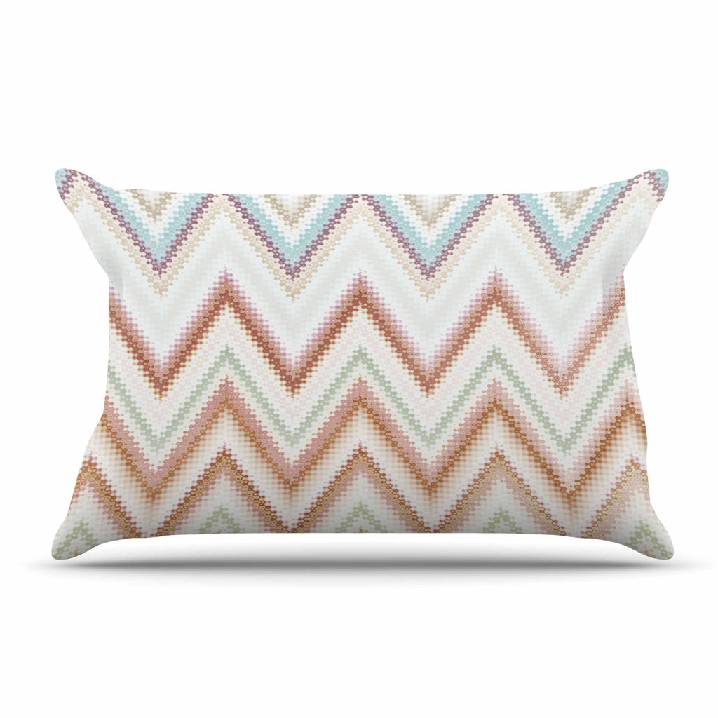 "Nika Martinez ""Seventies Chevron"" Beige Pattern Pillow Sham - KESS InHouse  - 1"