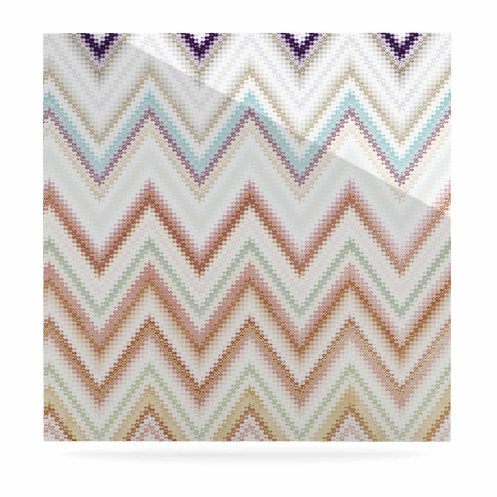 "Nika Martinez ""Seventies Chevron"" Beige Pattern Luxe Square Panel - KESS InHouse  - 1"