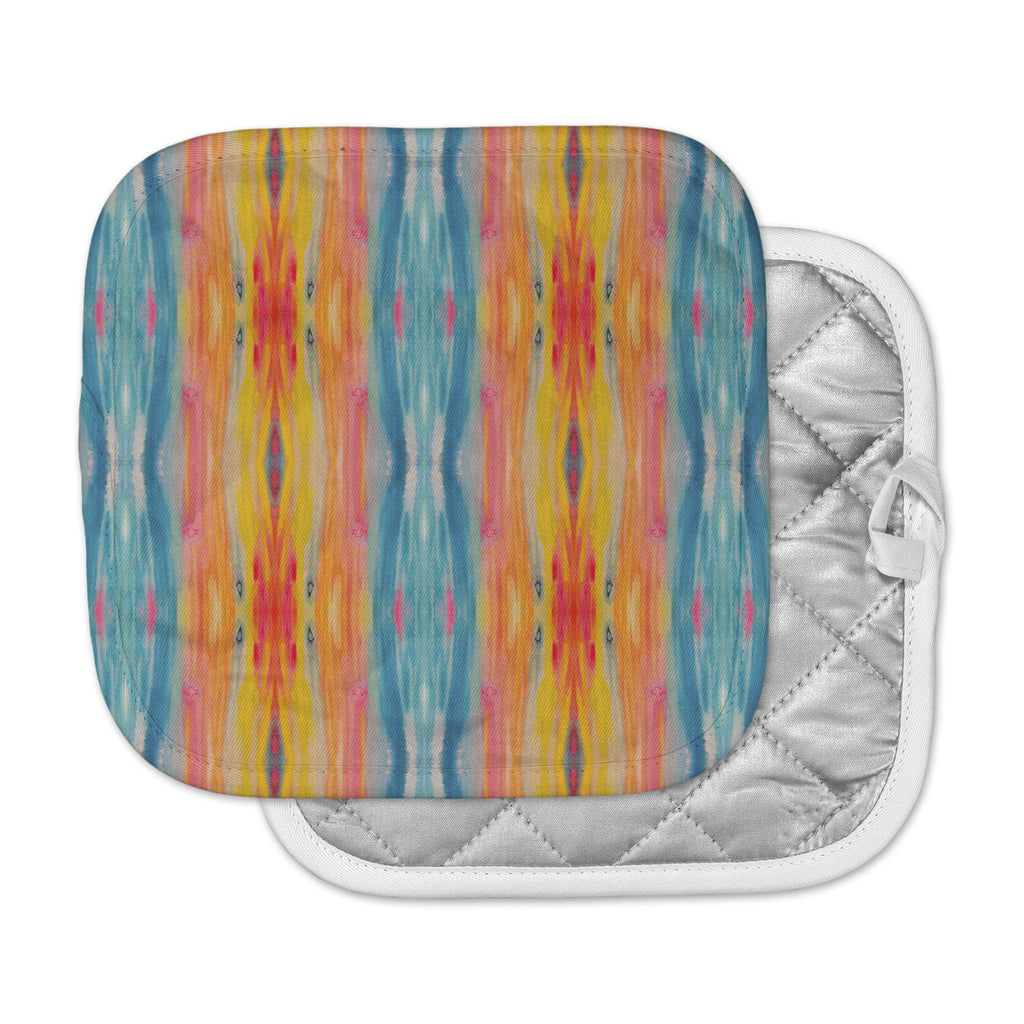 "Nika Martinez ""Boho Tie Dye"" Teal Orange Pot Holder"