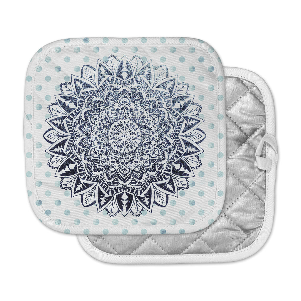 "Nika Martinez ""Dots Mandala"" Blue White Illustration Pot Holder"