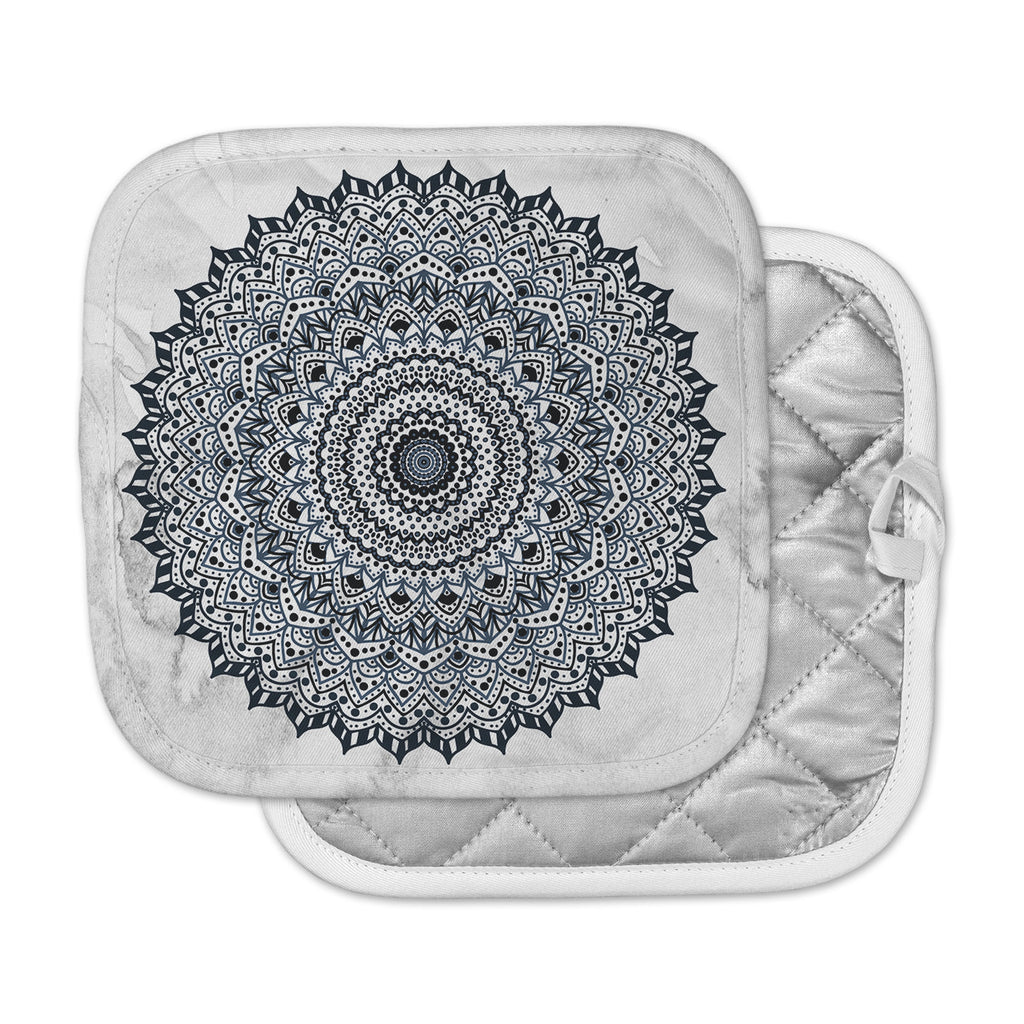 "Nika Martinez ""Boheme Dream Mandala"" Black Blue Illustration Pot Holder"