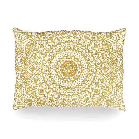 "Nika Martinez ""Gold Mandala"" Gold White Illustration Oblong Pillow - KESS InHouse"