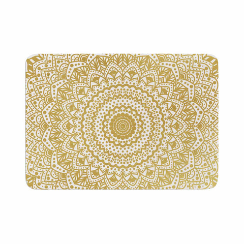 "Nika Martinez ""Gold Mandala"" Gold White Illustration Memory Foam Bath Mat - Outlet Item"