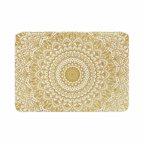 "Nika Martinez ""Gold Mandala"" Gold White Illustration Memory Foam Bath Mat - KESS InHouse"