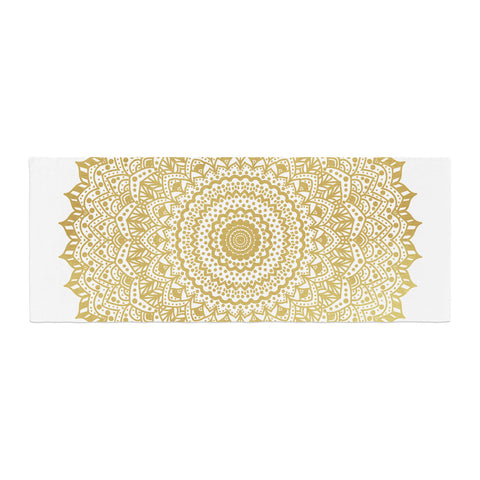 "Nika Martinez ""Gold Mandala"" Gold White Illustration Bed Runner - KESS InHouse  - 1"