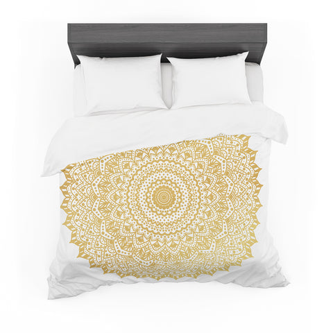 "Nika Martinez ""Gold Mandala"" Gold White Illustration Featherweight Duvet Cover"