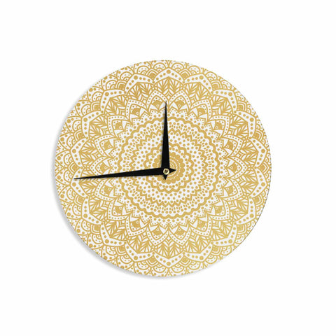 "Nika Martinez ""Gold Mandala"" Gold White Illustration Wall Clock - KESS InHouse"