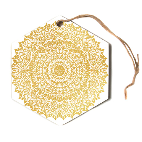 "Nika Martinez ""GOLD MANDALA""  Hexagon Holiday Ornament"