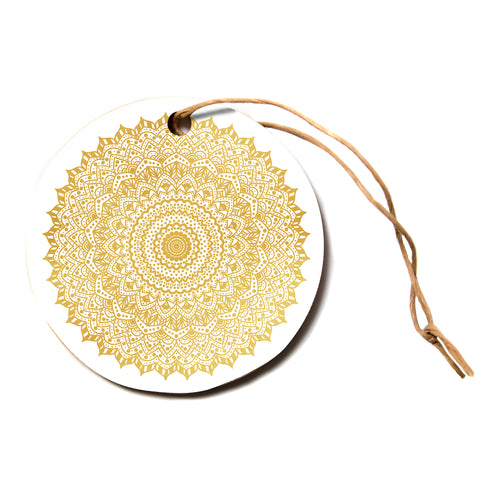 "Nika Martinez ""GOLD MANDALA""  Circle Holiday Ornament"