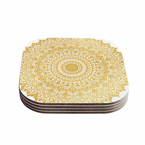 "Nika Martinez ""Gold Mandala"" Gold White Illustration Coasters (Set of 4)"