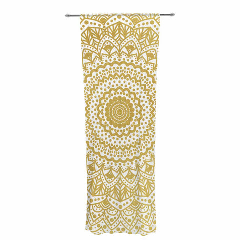 "Nika Martinez ""Gold Mandala"" Gold White Illustration Decorative Sheer Curtain - KESS InHouse  - 1"