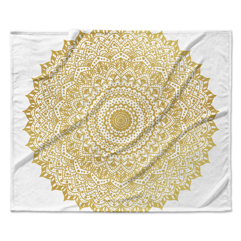 "Nika Martinez ""Gold Mandala"" Gold White Illustration Fleece Throw Blanket - Outlet Item"