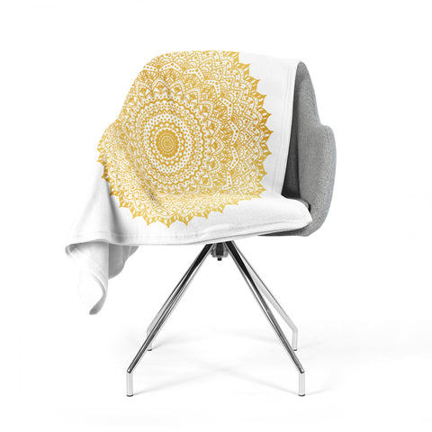 "Nika Martinez ""Gold Mandala"" Gold White Illustration Fleece Throw Blanket"
