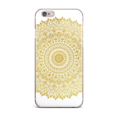 "Nika Martinez ""Gold Mandala"" Gold White Illustration iPhone Case - KESS InHouse"