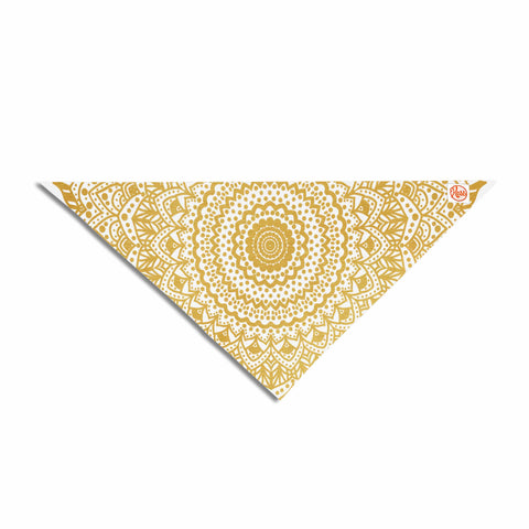 "Nika Martinez ""Gold Mandala"" Gold White Illustration Pet Bandana - KESS InHouse  - 1"
