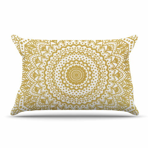 "Nika Martinez ""Gold Mandala"" Gold White Illustration Pillow Sham - KESS InHouse  - 1"