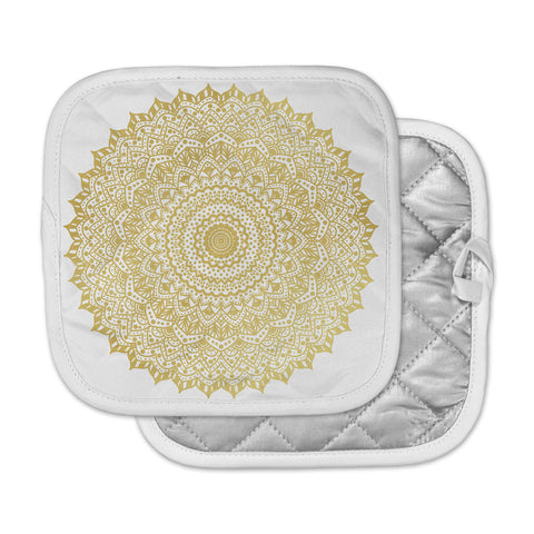 "Nika Martinez ""Gold Mandala"" Gold White Illustration Pot Holder"