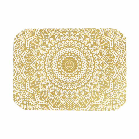 "Nika Martinez ""Gold Mandala"" Gold White Illustration Place Mat - KESS InHouse"