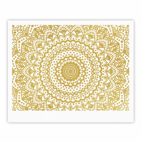 "Nika Martinez ""Gold Mandala"" Gold White Illustration Fine Art Gallery Print - KESS InHouse"