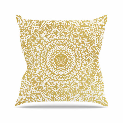 "Nika Martinez ""Gold Mandala"" Gold White Illustration Outdoor Throw Pillow - KESS InHouse  - 1"