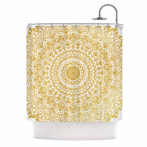 "Nika Martinez ""Gold Mandala"" Gold White Illustration Shower Curtain - KESS InHouse"