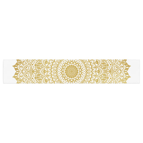 "Nika Martinez ""Gold Mandala"" Gold White Illustration Table Runner - KESS InHouse  - 1"