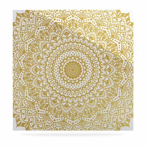 "Nika Martinez ""Gold Mandala"" Gold White Illustration Luxe Square Panel - KESS InHouse  - 1"