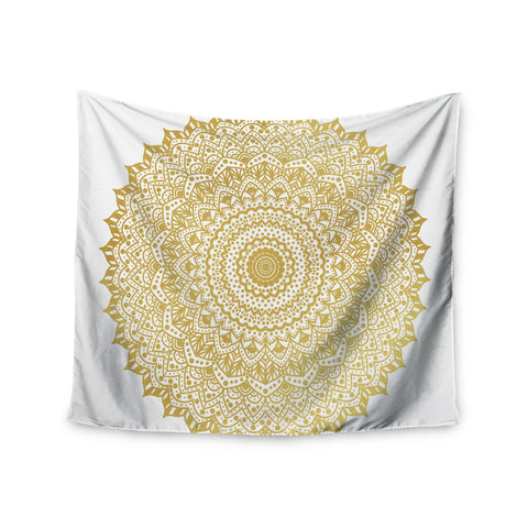 "Nika Martinez ""Gold Mandala"" Gold White Illustration Wall Tapestry - KESS InHouse  - 1"