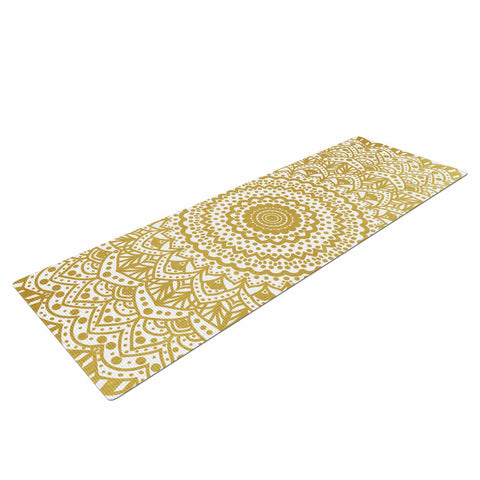 "Nika Martinez ""Gold Mandala"" Gold White Illustration Yoga Mat - KESS InHouse  - 1"